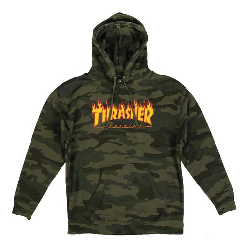 Thrasher Flame Hoodie Forest Camo