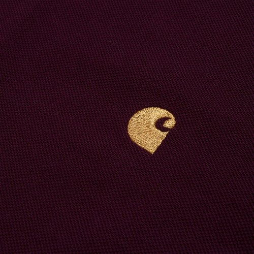 Carhartt Wip Chase Pique Polo Longsleeve Merlot/Gold