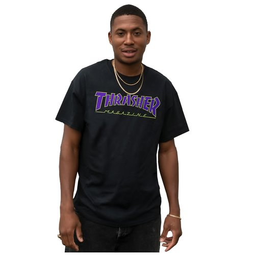 Thrasher Outline Skate-Mag T-Shirt Black Purple