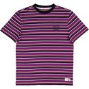 Welcome Surf Stripe T-Shirt Purple Black Lime